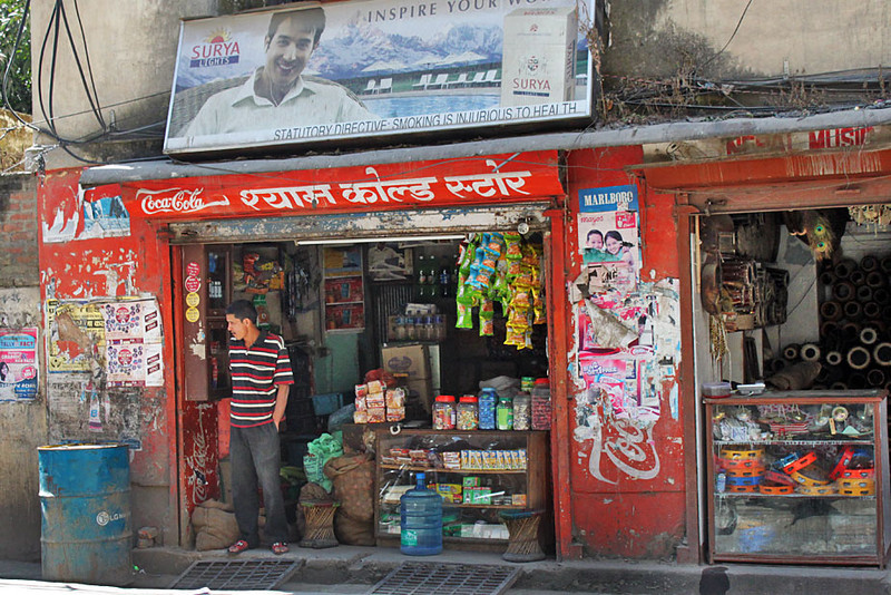 Store on a side street in the Thamel backpacker district of Kathmandu, Nepal