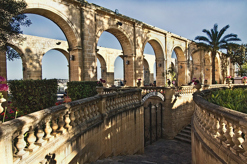 Arches in Upper Barrakka Gardens in Valletta, look over Grand Harbour