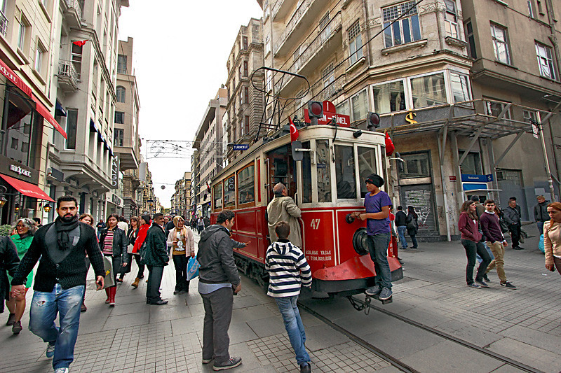 Trolley on Istiklal Avenue in Istanbul runs between Taksim Square and Galata Tower