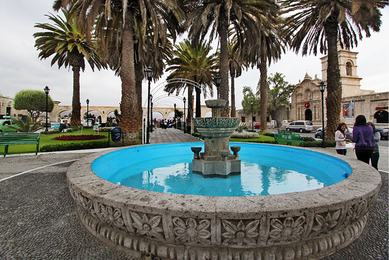 Fountain and arches at the Mirador of Yanahuara, near the historic center of Arequipa, Peru