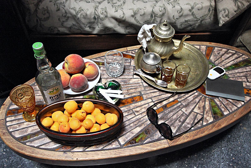 Traditional mint tea service in a home in Casablanca, Morocco