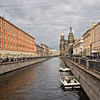 View down Griboedova Canal toward Church of the Spilled Blood in St. Petersburg, Russia