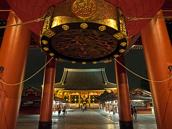 Senso-ji Temple, said to be the heart and soul of Tokyo, Japan, is most spectacular at night