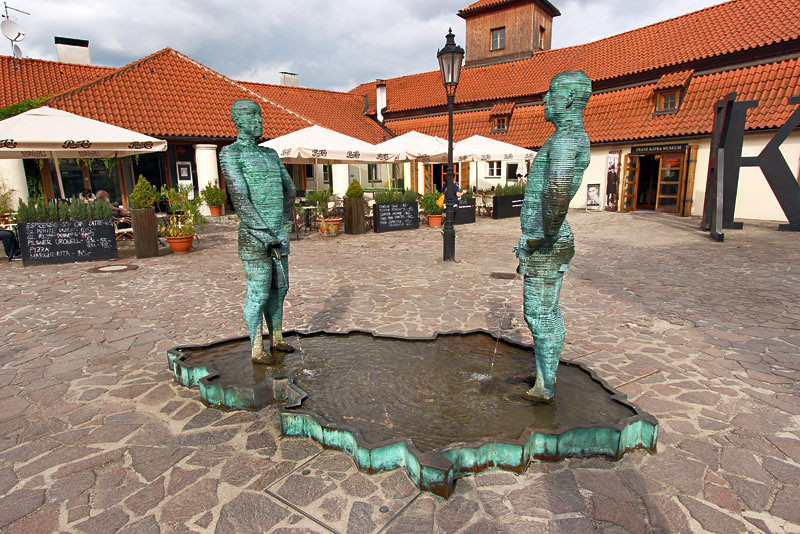 Sculpture of two men urinating on the Czech Republic proves local artists have a sense of humor