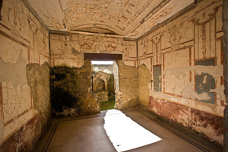 Room covered in frescoes was discovered in House of the Black Room in Herculaneum