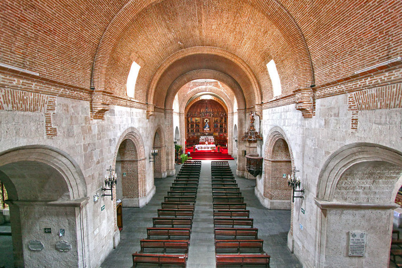 Interior of historic San Francisco Church, still used for services every Sunday in Arequipa, Peru