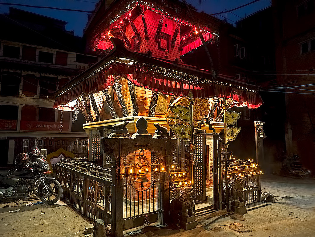 Temple in Kathmandu, Nepal, decked out for the Hindu holy holiday of Dashain