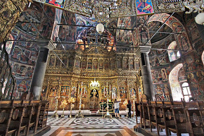 Gold-plated iconostasis in the sanctuary of the church at Rila Monastery in Bulgaria
