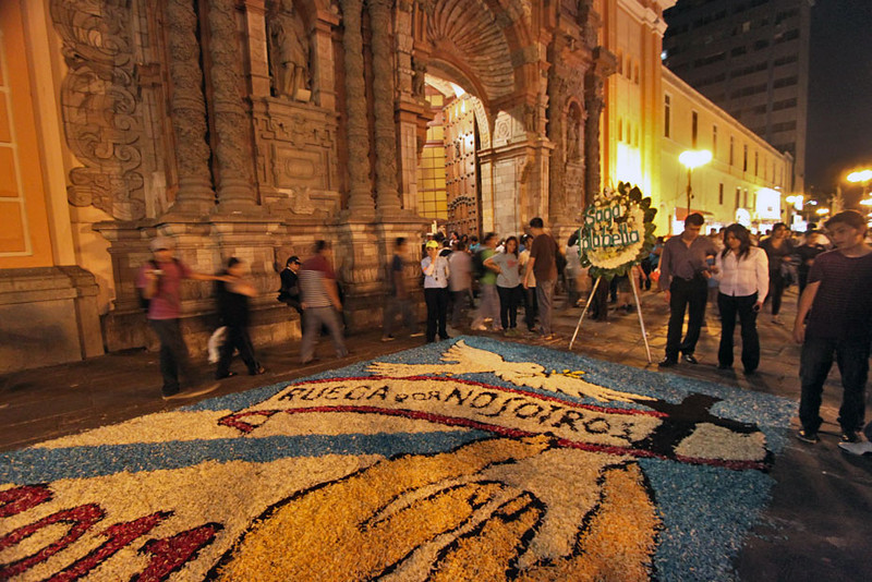 Carpet of flowers in front of church on Jiron de la Union in Lima