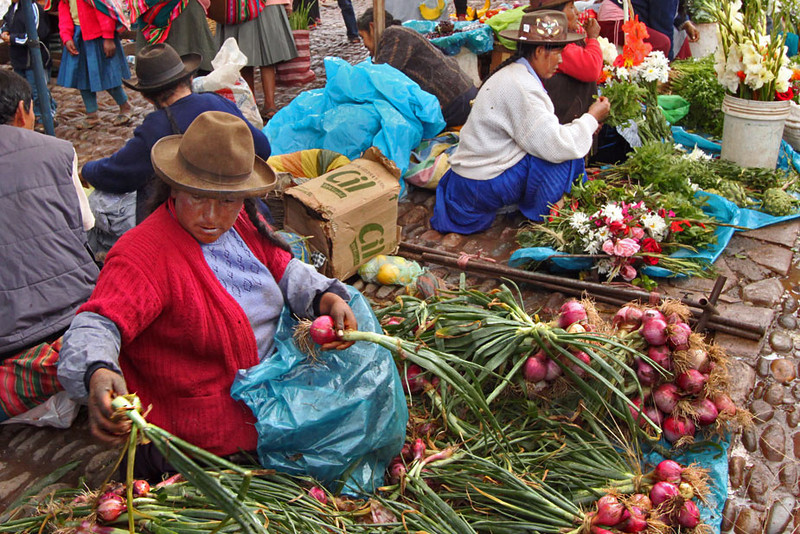 Market in Pisac, in the Sacred Valley of Peru, is famous for its fresh fruits and vegetables