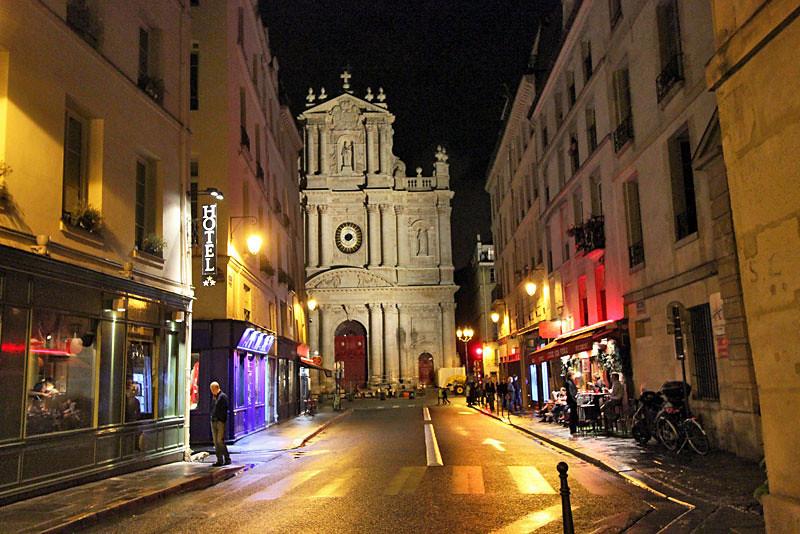 Rain slicked streets in St. Germain neighborhood in Paris, France