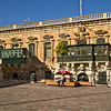 Typical Moor influenced architecture on Saint George's Square in Valletta, capital city of Malta