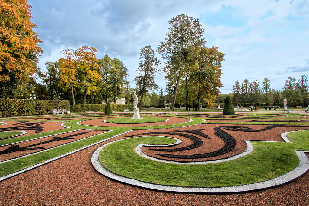 Gardens at Catherine's Palace in St. Petersburg, Russia