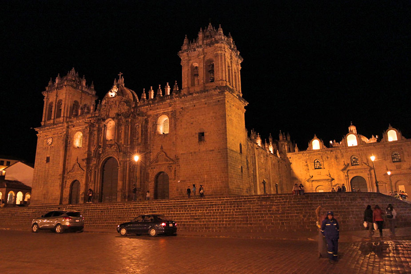 Cathedral on the Plaza de Armas at night, Cusco, Peru