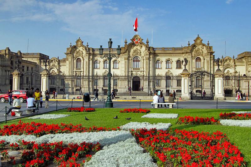 Palacio de Gobierno at Plaza de Armas in the historic center of Lima