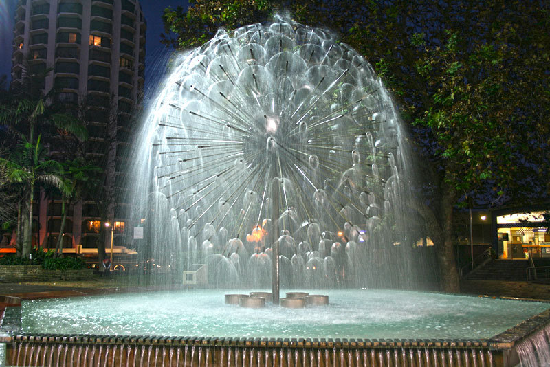 El Alamein Fountain is centerpiece in Kings Cross neighborhood in Sydney, Australia