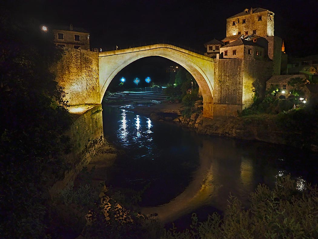 """Stari Most, literally """"Old Bridge"""" in Bosnian. This ancient stone bridge was shelled to bits during the Bosnian War, but rebuilt to its original form after hostilities ceased."""