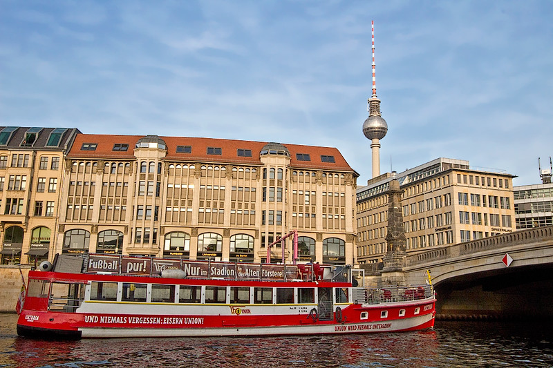 Views of Berlin Architecture, including the TV Tower, which is the highest structure in Germany, during River Spree Cruise