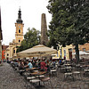 Outdoor cafes in Museum Square, the oldest square in Cluj-Napoca, Romania