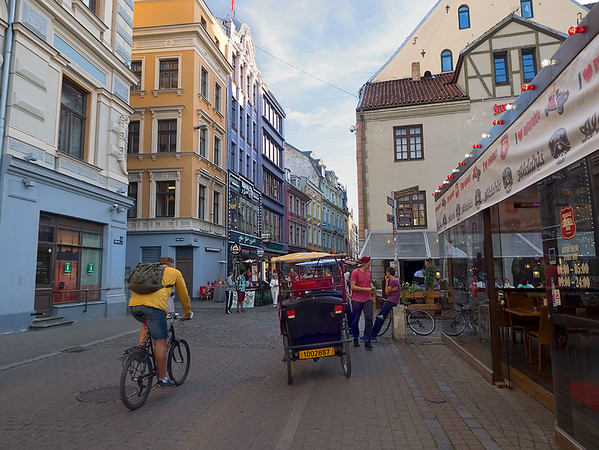 Colorful street in the historic Old Town of Riga, Latvia