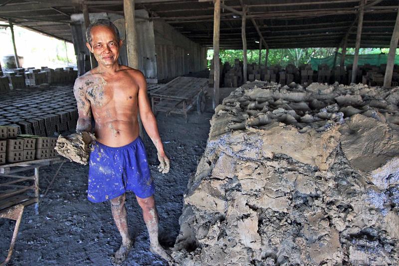 Mud used for production of bricks near Battambang, Cambodia
