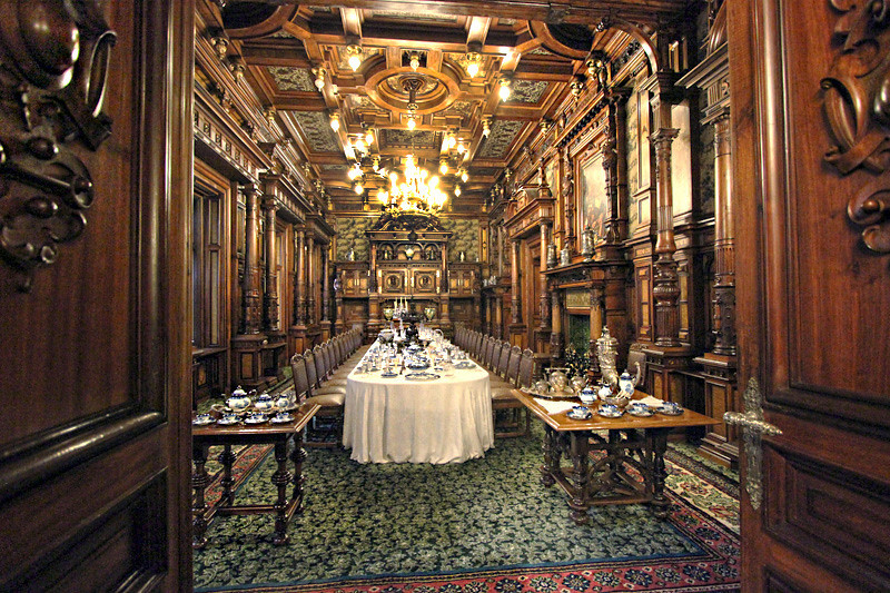 Sumptuous dining room in Peles Castle in the village of Sinaia, just south of Brasov, Romania