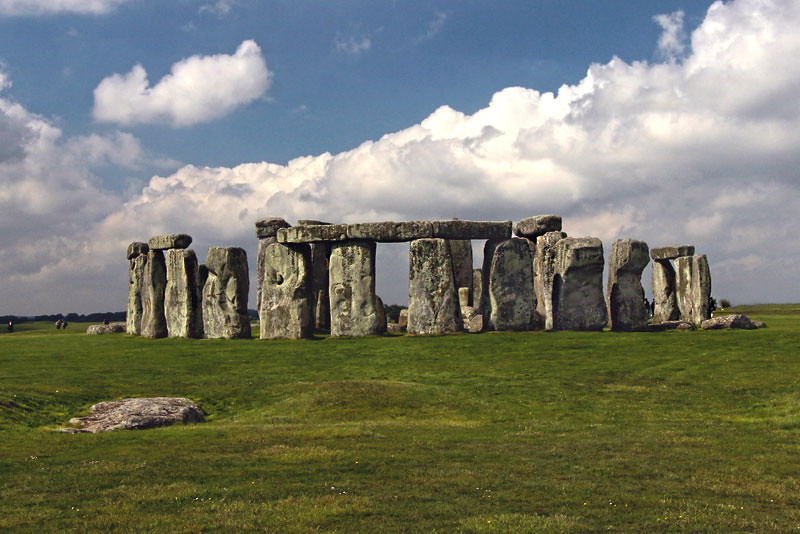 England's Stonehenge, shown from the heelstone with the slaughter stone in the foreground