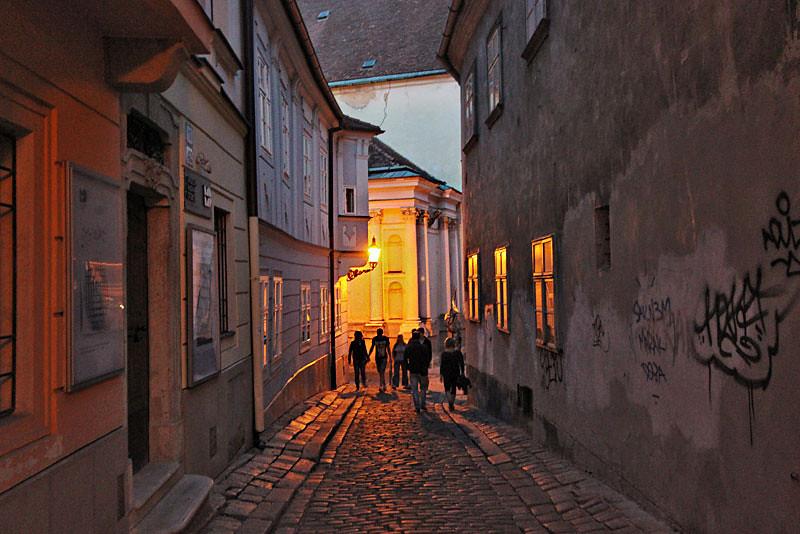 Typical cobblestone street in the historic center of Bratislava, Slovakia