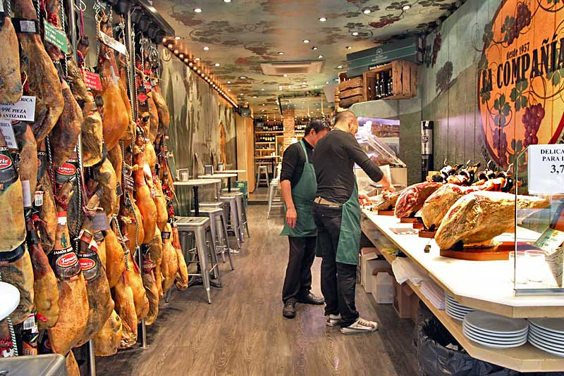 Specialty of La Compania cafe in Barcelona, Spain is Iberian ham