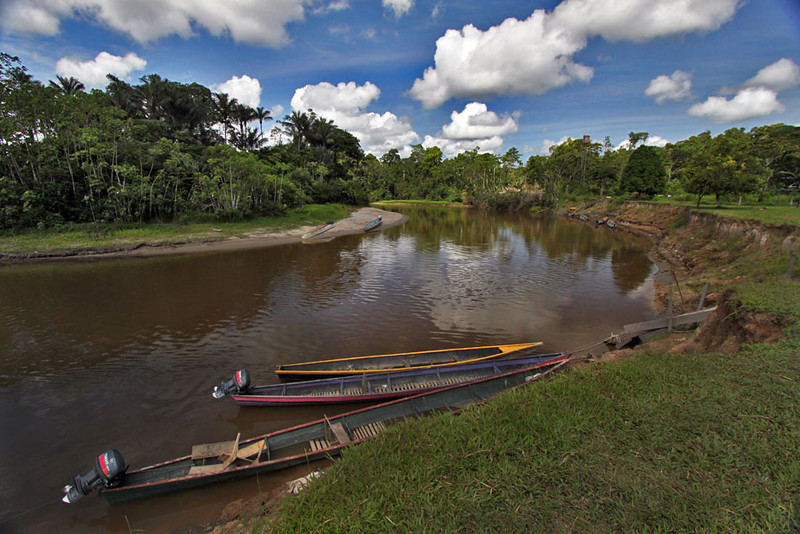 Siona indigenous community lives along a river in Cuyabeno National Park