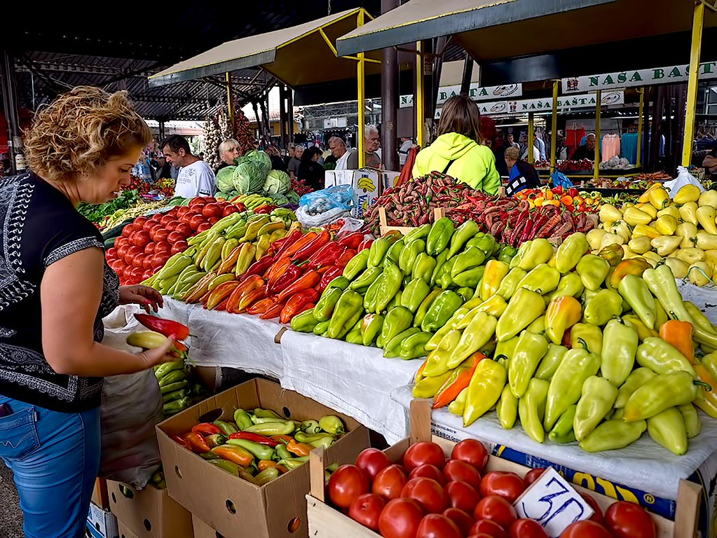 Peppers, like these beauties in a market in Nis, Serbia, are a mainstay of Serbian cuisine