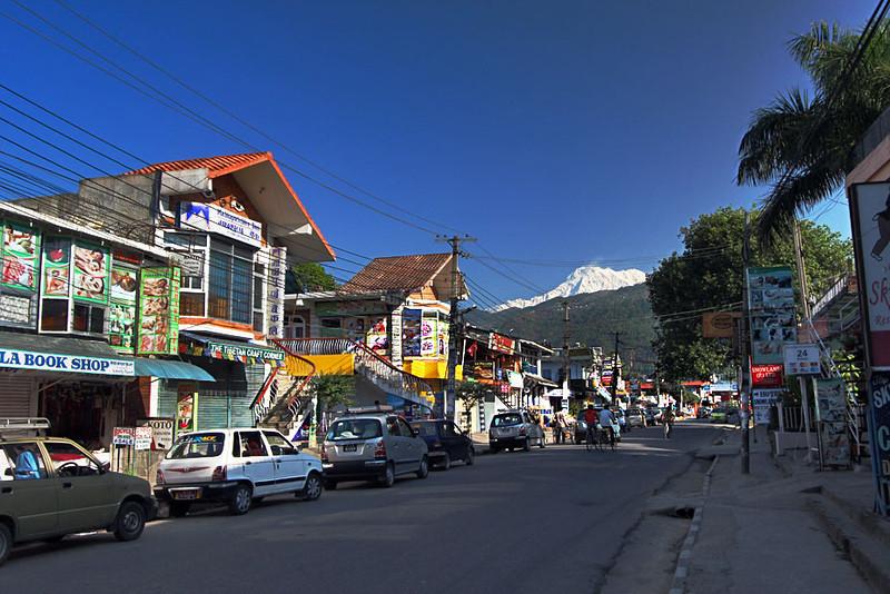Main street of Lakeside in Pokhara, Nepal