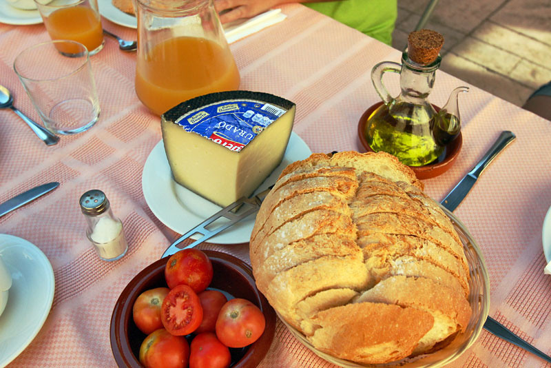 Typical Catalonian breakfast at Can Dionis, a 13th century farmhouse in Campllong, Spain