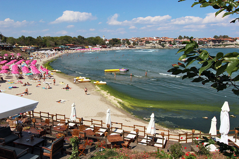Main public beach in Sozopol, Bulgaria, a traditional fishing village on the Black Sea