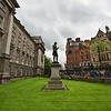 Trinity College in central Dublin, Ireland, faces College Green and a series of 19th-century buildings that are mostly banks