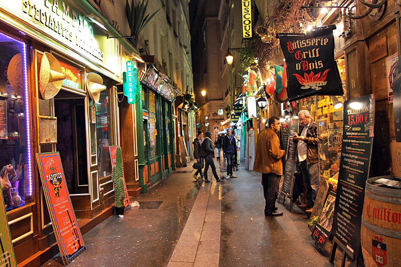 Latin Quarter in Paris, France is popular with tourists for its many cafes and shops