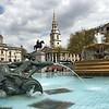Fountains an statues in Trafalgar Square, London, England