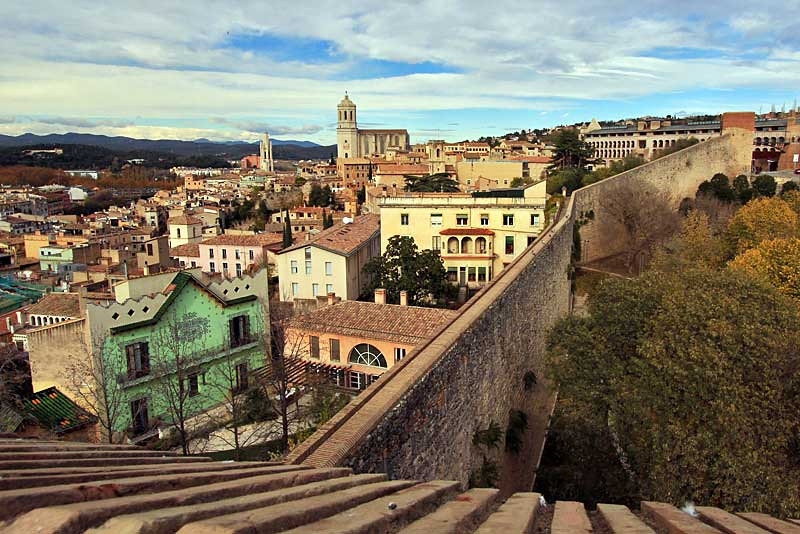 View of the city center in Girona, Spain from atop old Roman wall