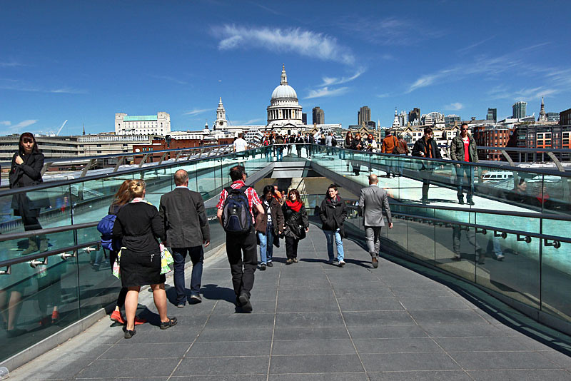 Crossing the Millennium Bridge over the River Thames to St. Paul's Cathedral