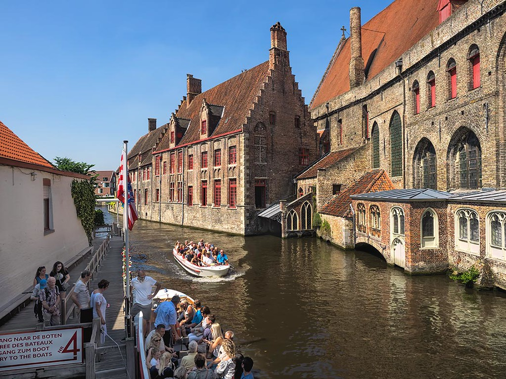 View down Bakkersrei Canal in Bruges, Belgium