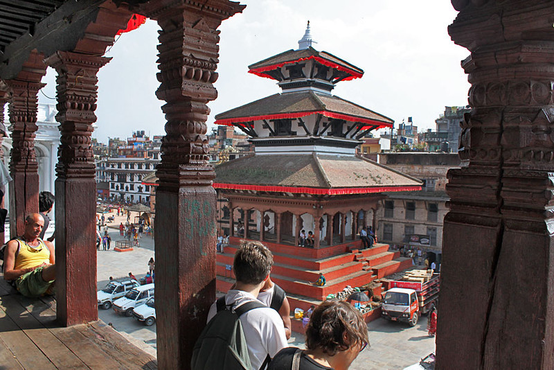 Overview of Durbar Square from atop a temple in Kathmandu, Nepal