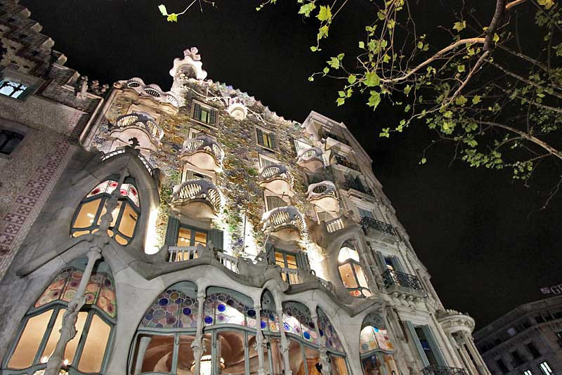 Gaudi's most famous house, Casa Batllo in Barcelona, Spain, is most impressive by night