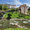 Buildings along the Tomebamba River in Cuenca, Ecuador