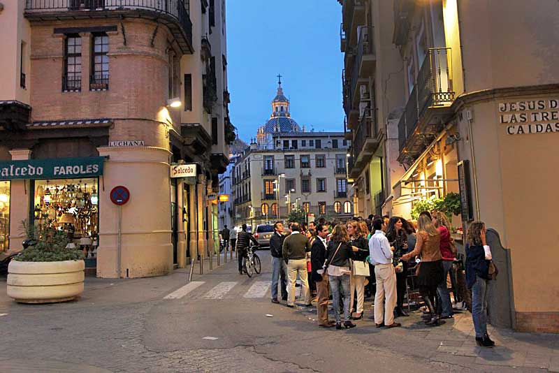 Everyone goes out for Tapas after work in Seville, Spain