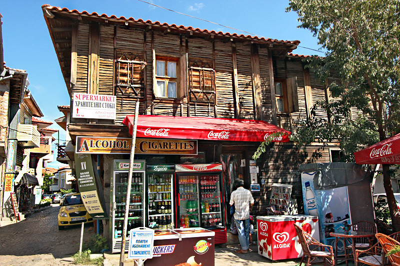 Mini-market in a traditional wooden house in the town square of Sozopol, Bulgaria