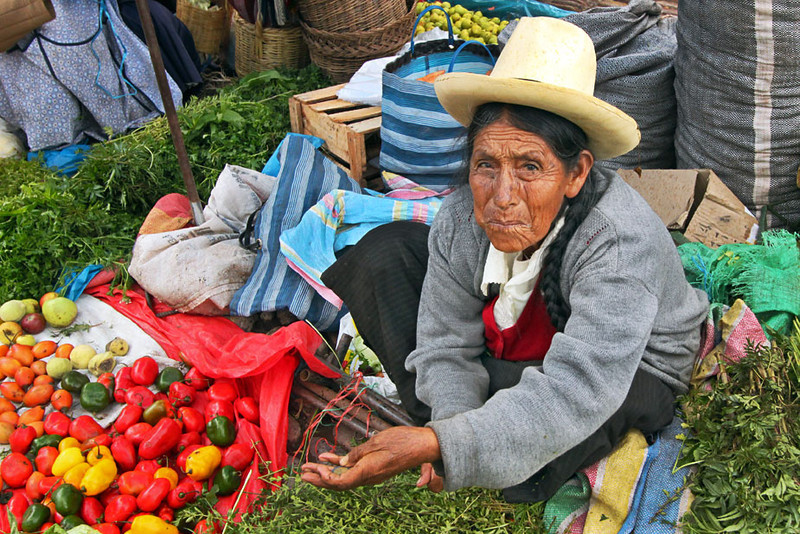 Quechua woman at the Pisac Market in the Sacred Valley of Peru