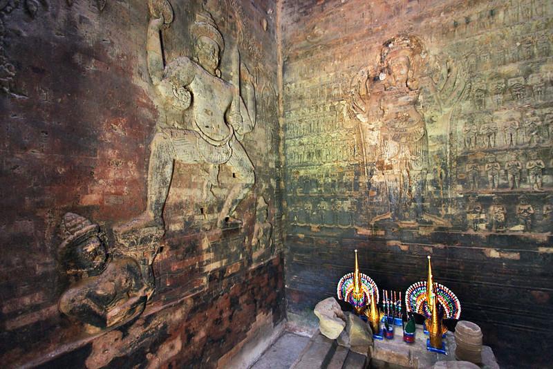 Giant Hindu carvings inside Prasat Kravan Temple at Angkor Wat, Cambodia.