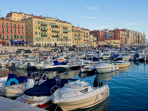 Sun sets over the Port Lympia in Nice, France