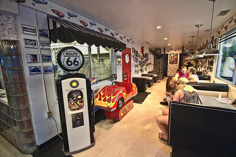 Route 66 memorabilia inside the Polka Dot Drive-In on old Rt. 66 in Braidwood, Illinois