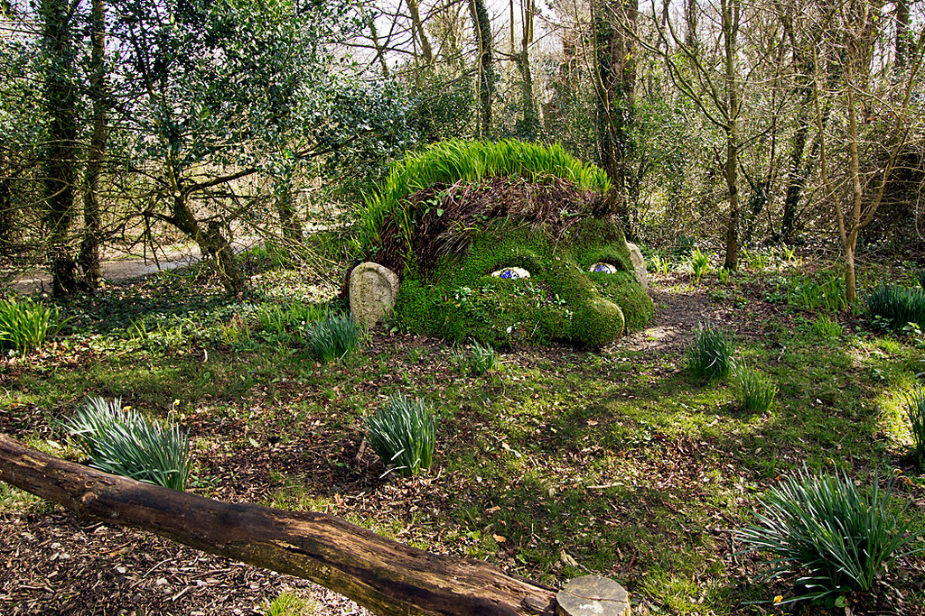 The Giant's Head, an earth and plant sculpture at The Lost Gardens of Heligan in Cornwall, England